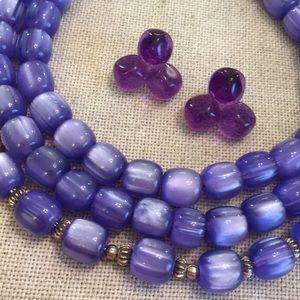 Lucite Purple Earrings & Acrylic Moonglow Necklace